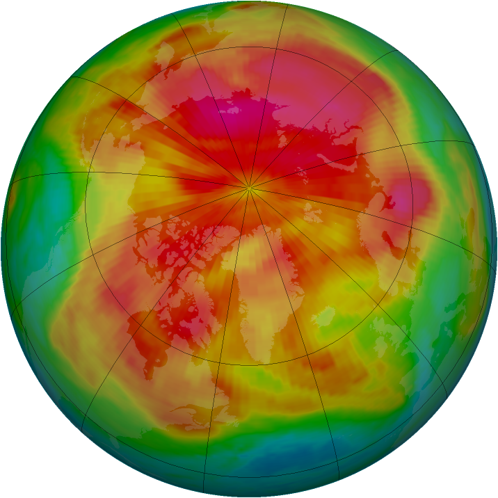 Arctic ozone map for 04 April 1985