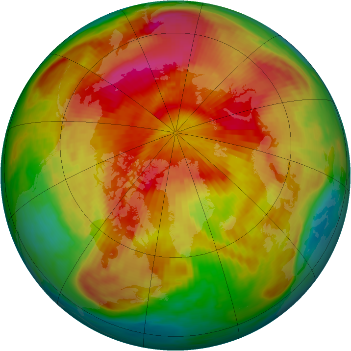 Arctic ozone map for 09 April 1985