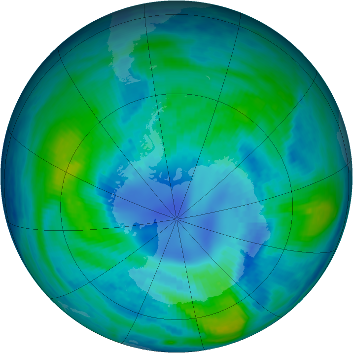 Antarctic ozone map for 10 April 1985