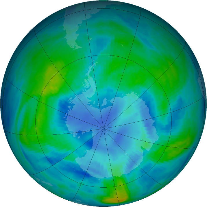Antarctic ozone map for 11 April 1985