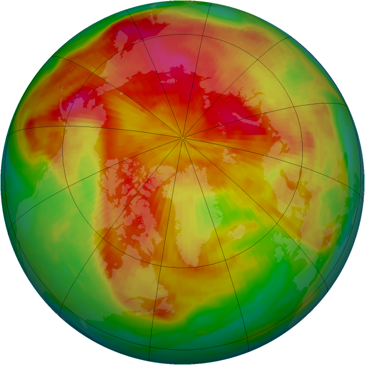 Arctic ozone map for 12 April 1985