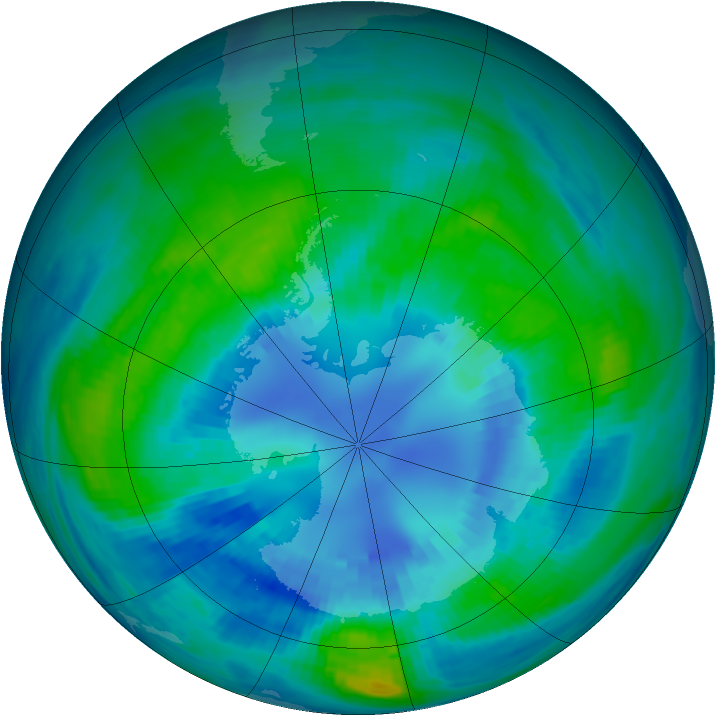 Antarctic ozone map for 12 April 1985