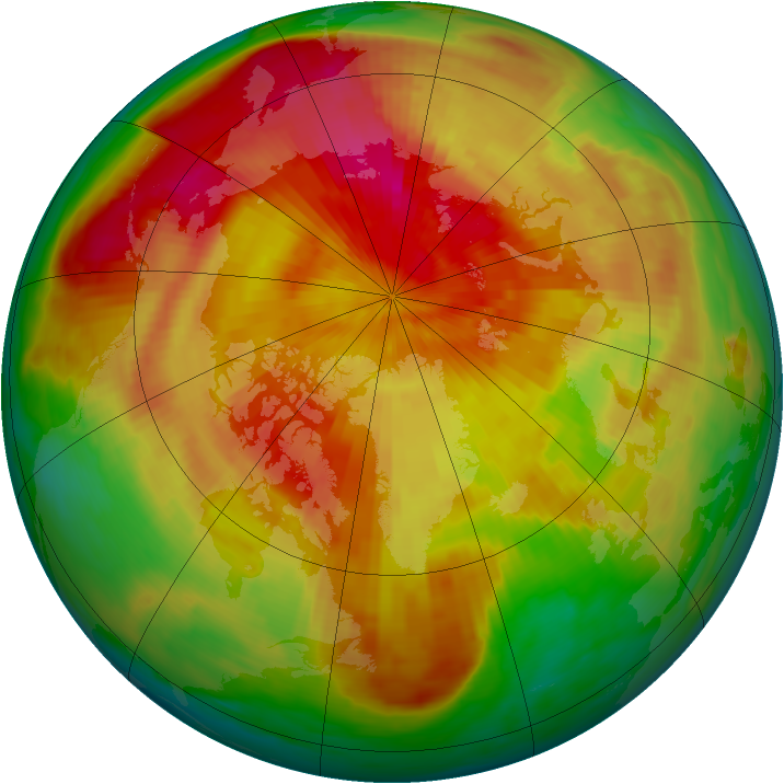 Arctic ozone map for 14 April 1985