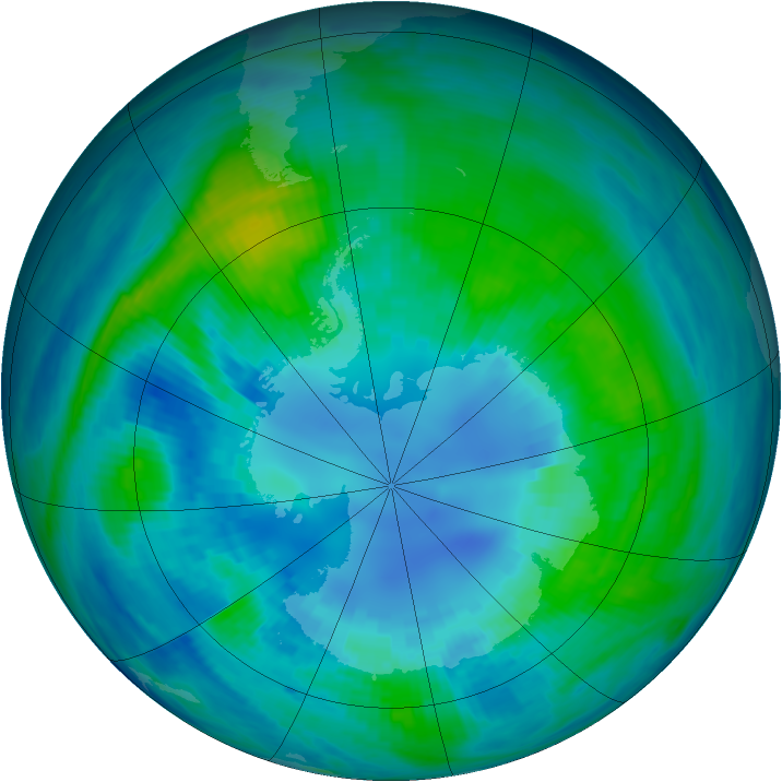 Antarctic ozone map for 14 April 1985