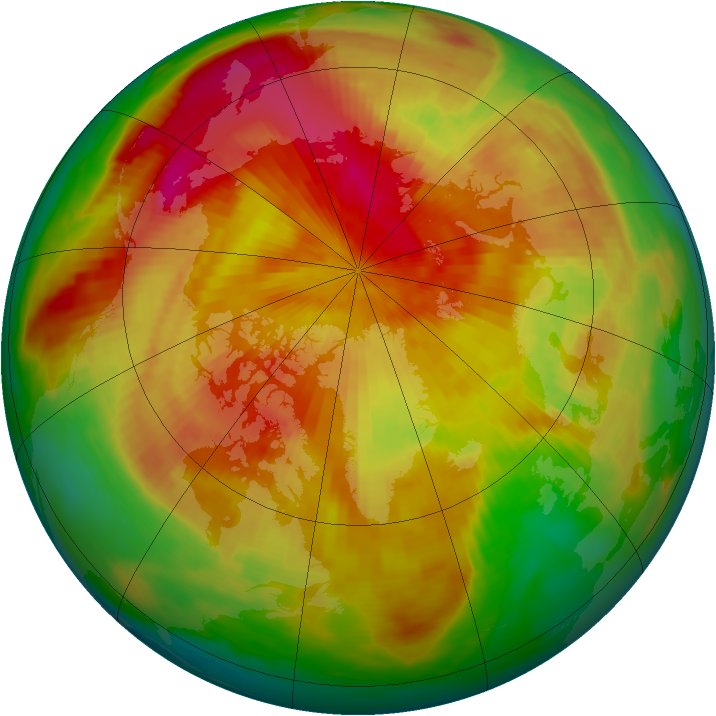 Arctic ozone map for 15 April 1985
