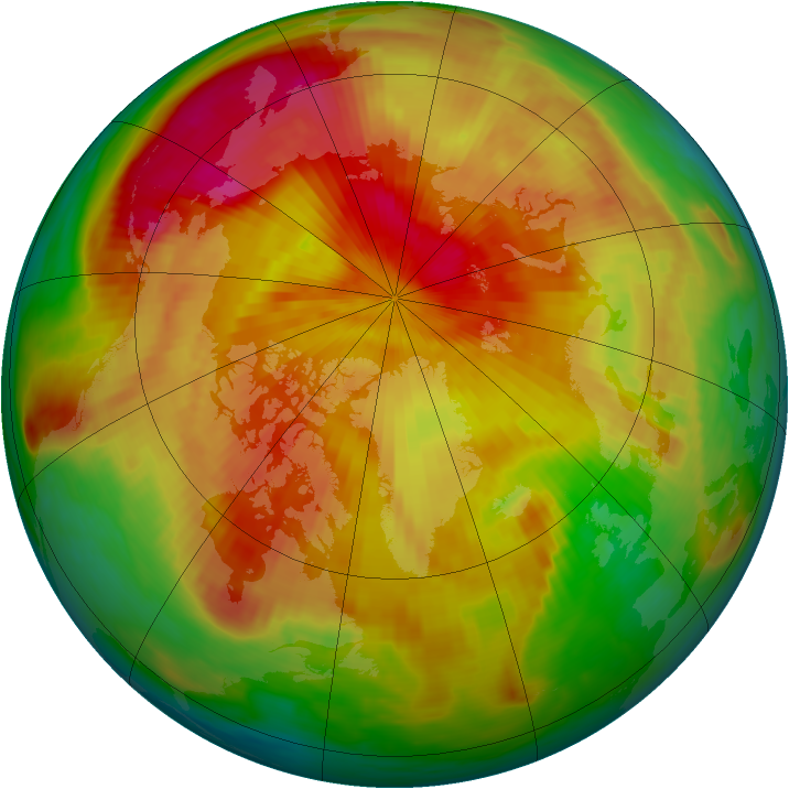 Arctic ozone map for 16 April 1985