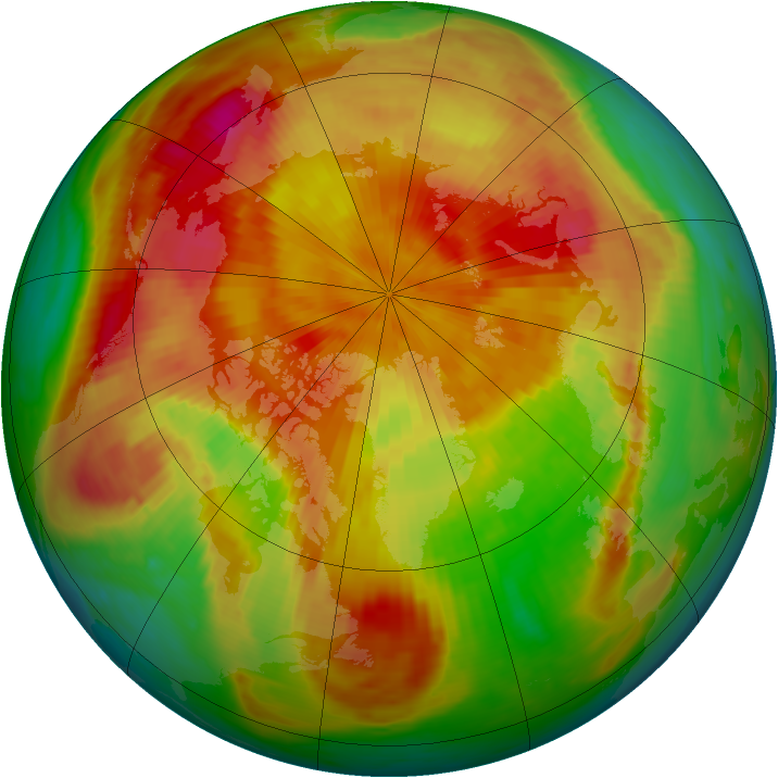 Arctic ozone map for 21 April 1985
