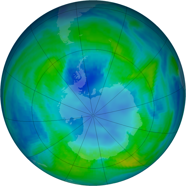 Antarctic ozone map for 21 April 1985