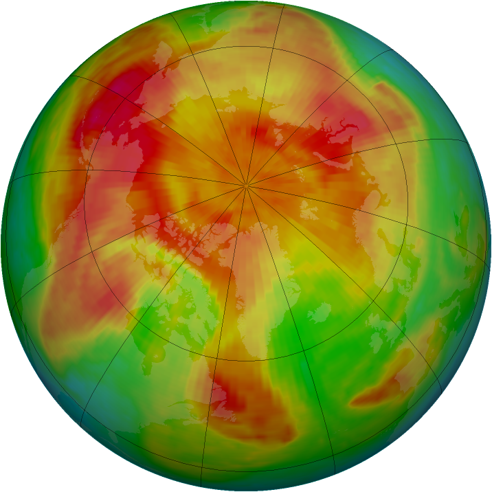 Arctic ozone map for 22 April 1985