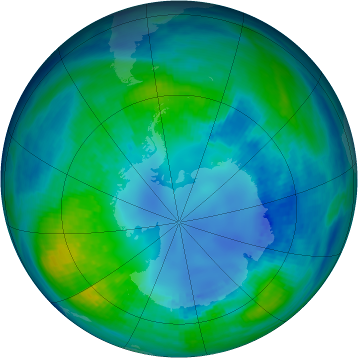Antarctic ozone map for 25 April 1985