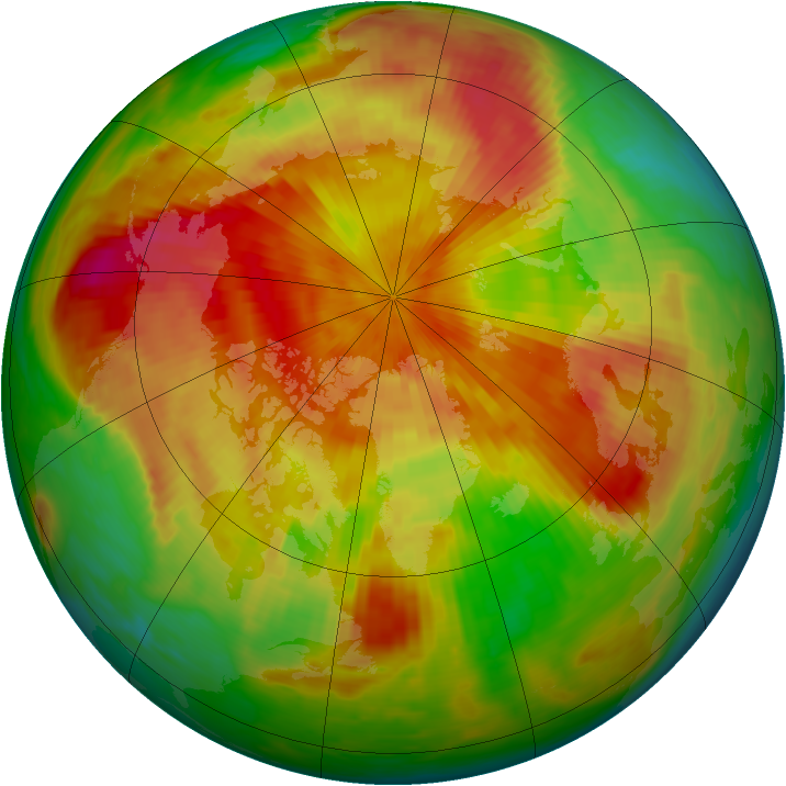 Arctic ozone map for 27 April 1985