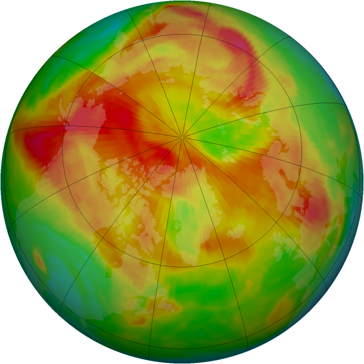 Arctic ozone map for 29 April 1985