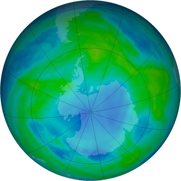 Antarctic ozone map for 30 April 1985