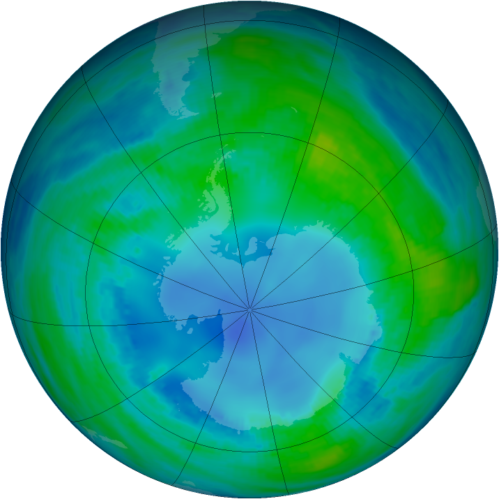 Antarctic ozone map for 01 May 1985