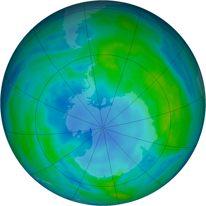 Antarctic ozone map for 02 May 1985