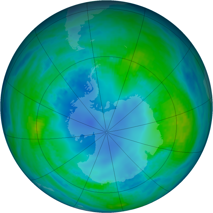 Antarctic ozone map for 03 May 1985