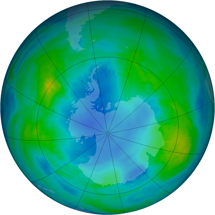 Antarctic ozone map for 04 May 1985