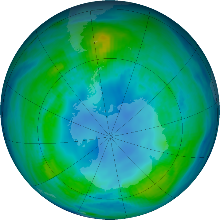 Antarctic ozone map for 06 May 1985