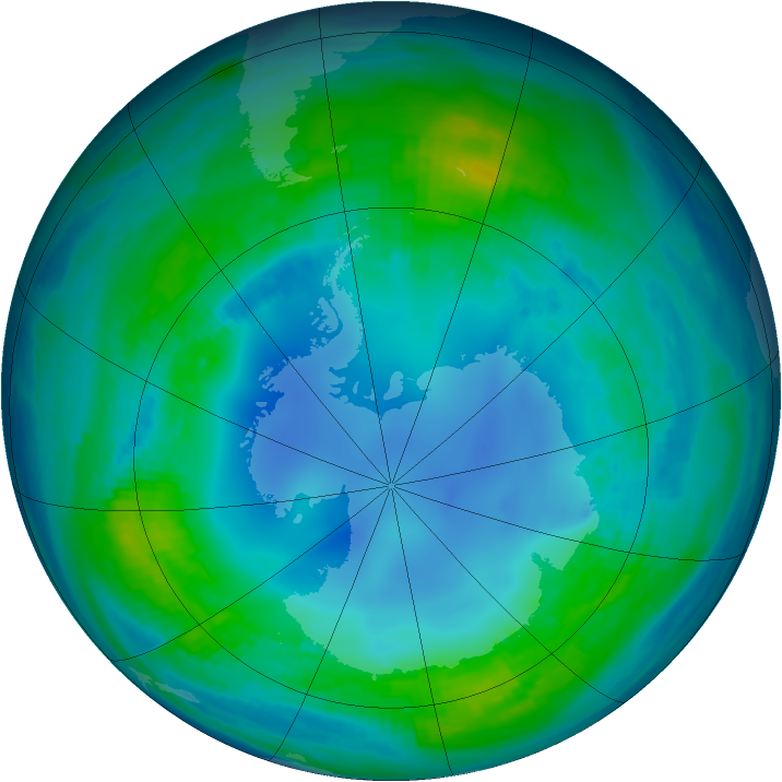 Antarctic ozone map for 07 May 1985