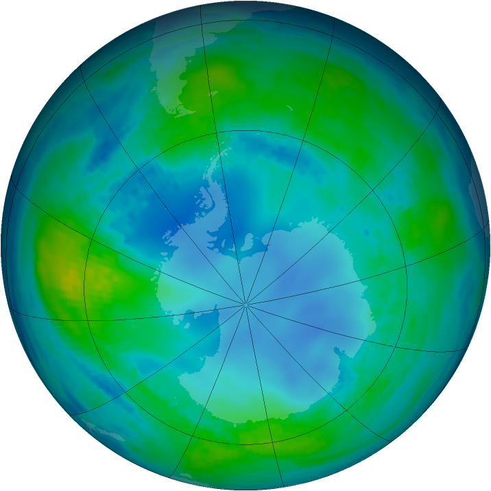 Antarctic ozone map for 09 May 1985