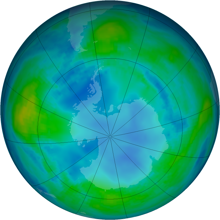 Antarctic ozone map for 10 May 1985