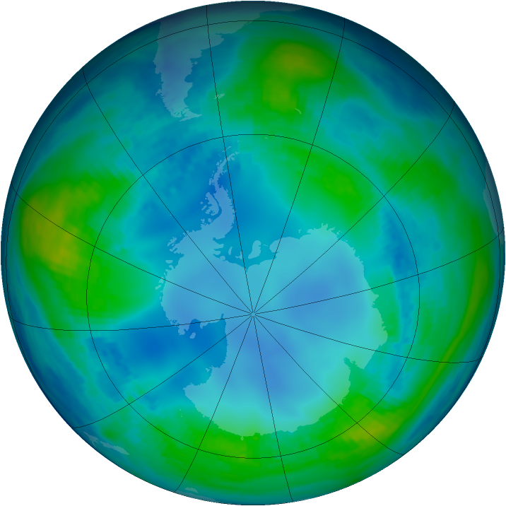 Antarctic ozone map for 11 May 1985