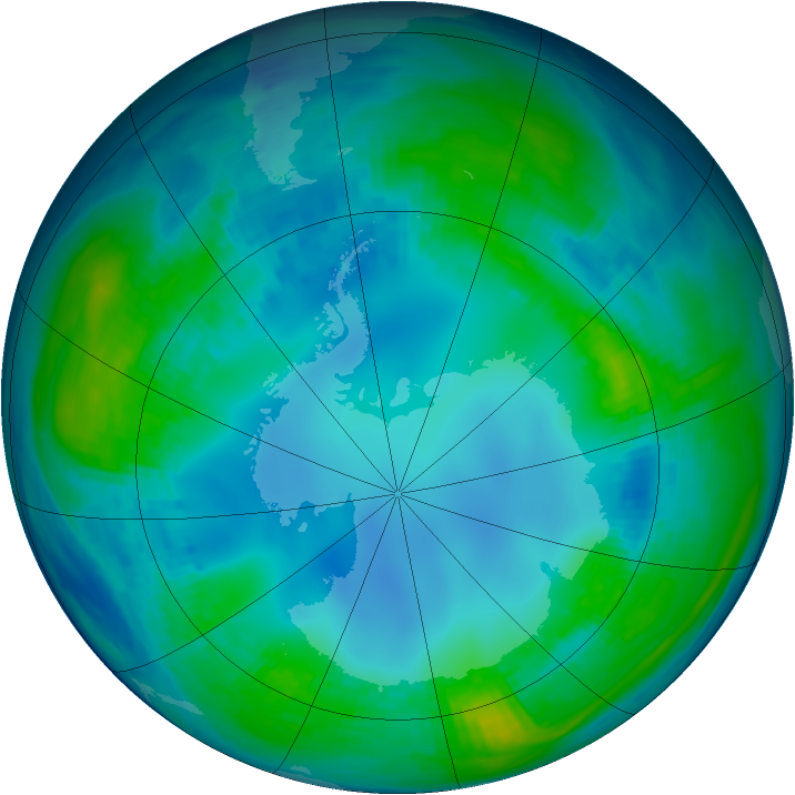 Antarctic ozone map for 12 May 1985