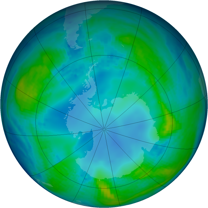 Antarctic ozone map for 13 May 1985