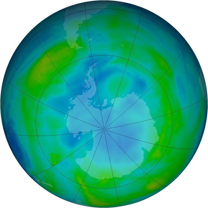 Antarctic ozone map for 14 May 1985