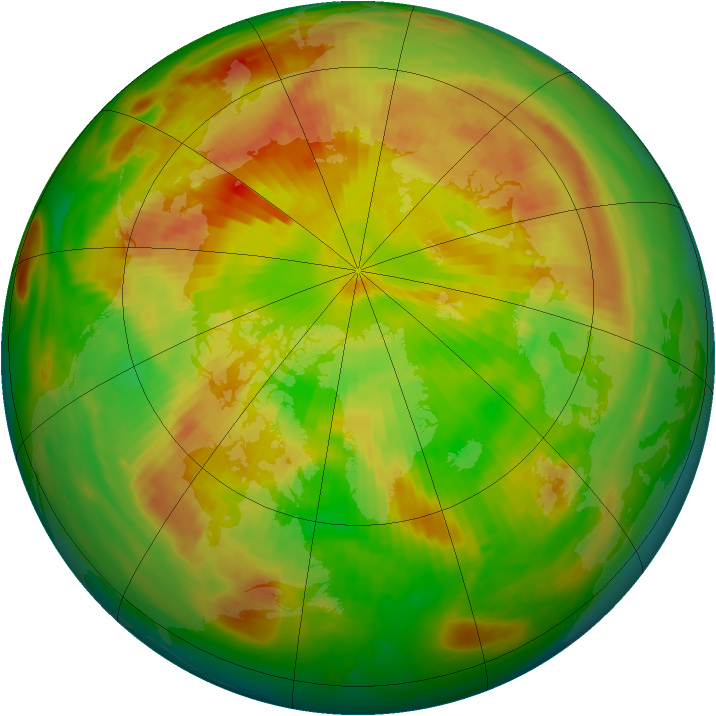 Arctic ozone map for 19 May 1985