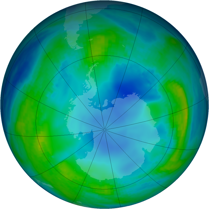 Antarctic ozone map for 19 May 1985