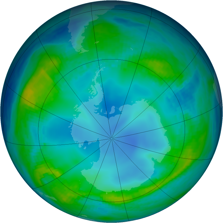 Antarctic ozone map for 21 May 1985