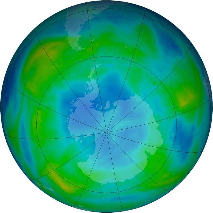 Antarctic ozone map for 23 May 1985