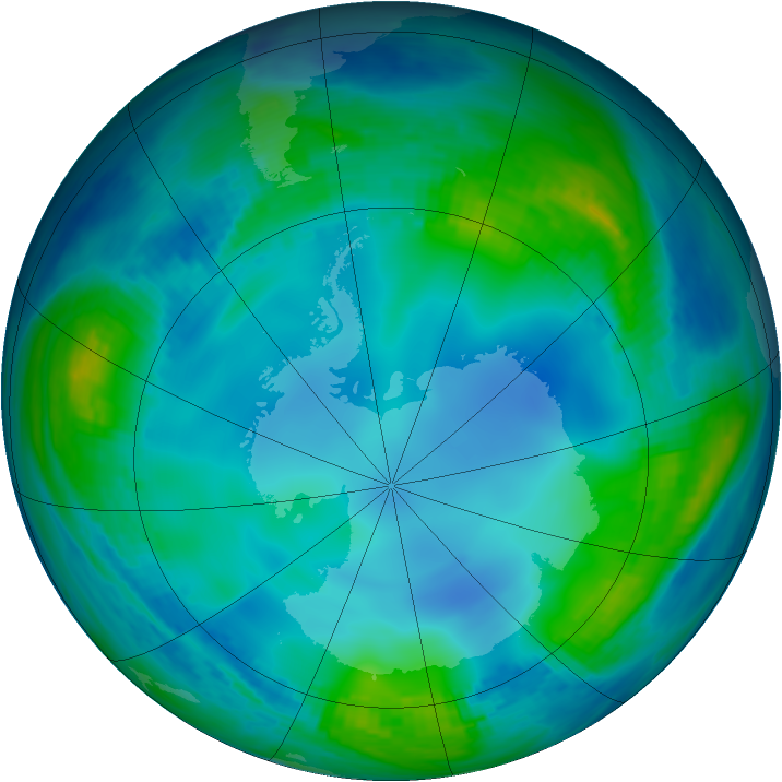 Antarctic ozone map for 31 May 1985