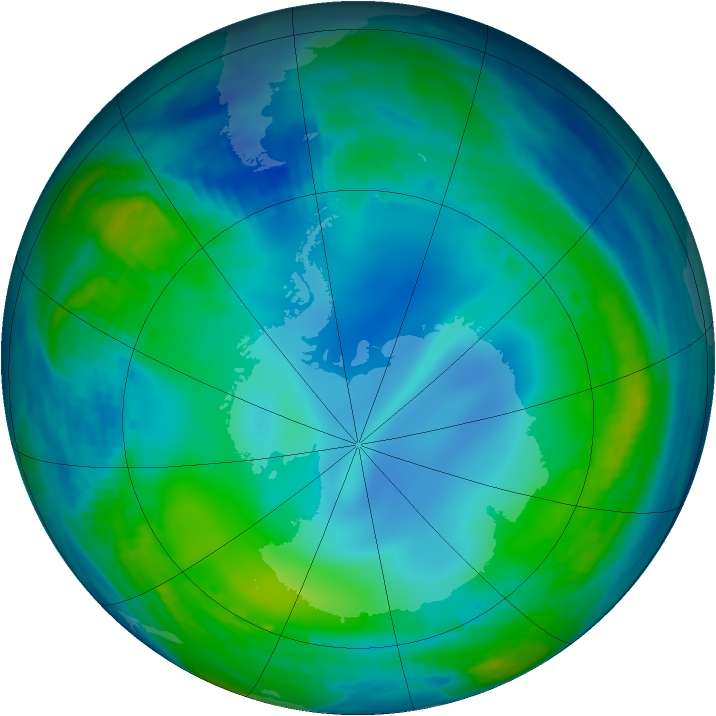 Antarctic ozone map for 06 June 1985