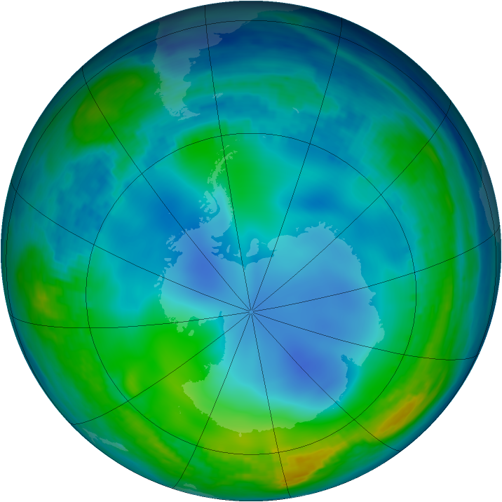 Antarctic ozone map for 10 June 1985
