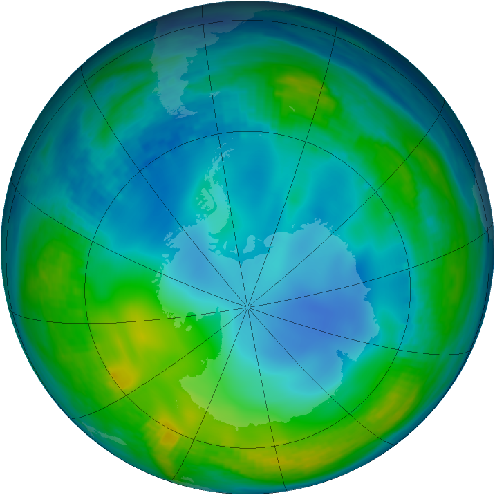 Antarctic ozone map for 12 June 1985