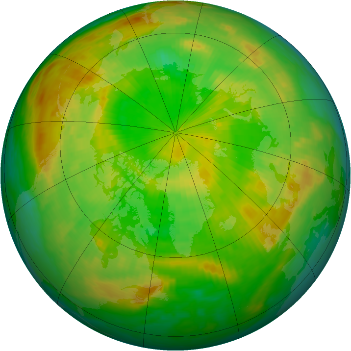 Arctic ozone map for 14 June 1985