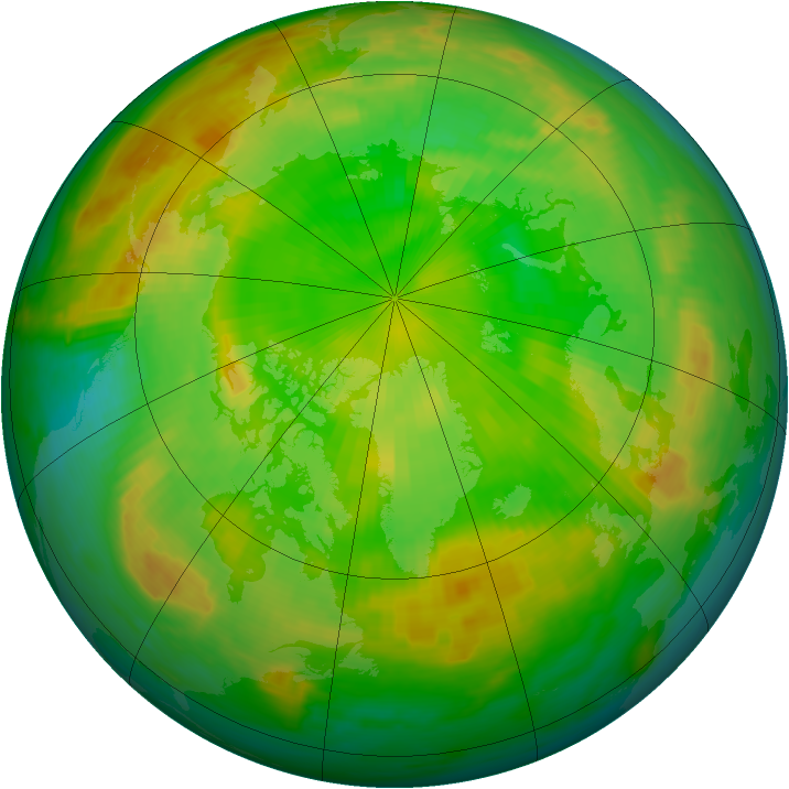 Arctic ozone map for 17 June 1985