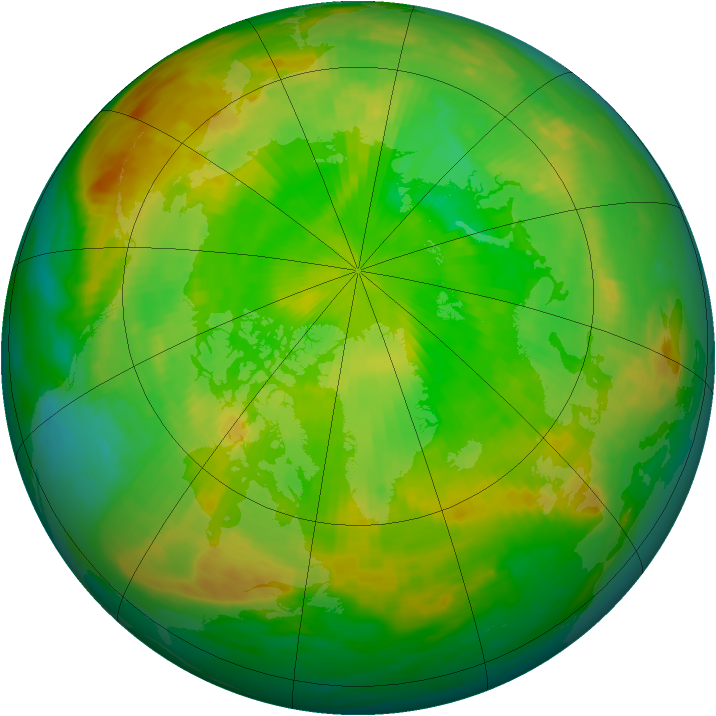 Arctic ozone map for 19 June 1985
