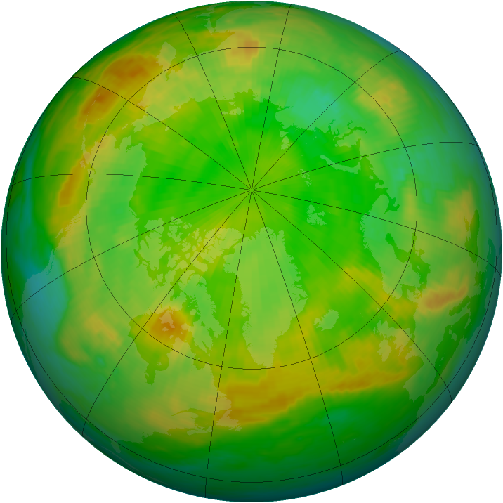 Arctic ozone map for 21 June 1985