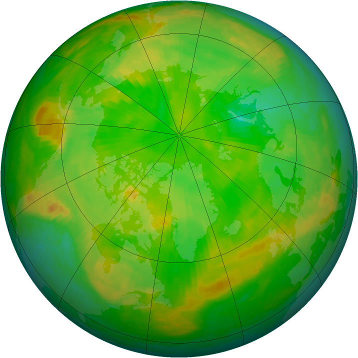 Arctic ozone map for 24 June 1985