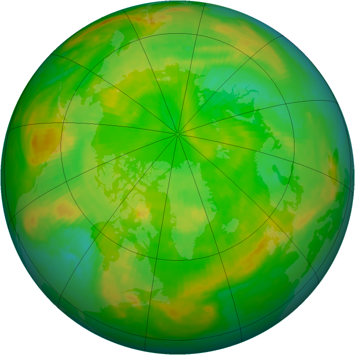 Arctic ozone map for 25 June 1985