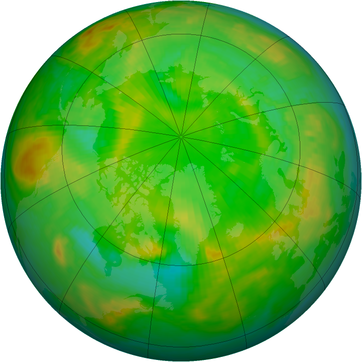 Arctic ozone map for 28 June 1985