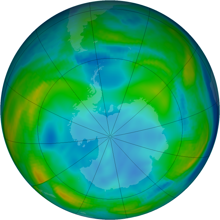 Antarctic ozone map for 01 July 1985