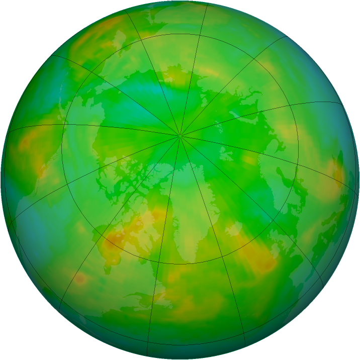 Arctic ozone map for 05 July 1985