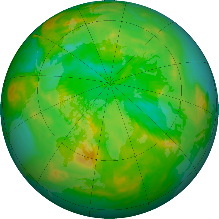 Arctic ozone map for 06 July 1985