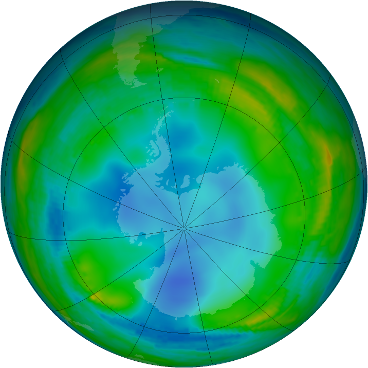 Antarctic ozone map for 08 July 1985