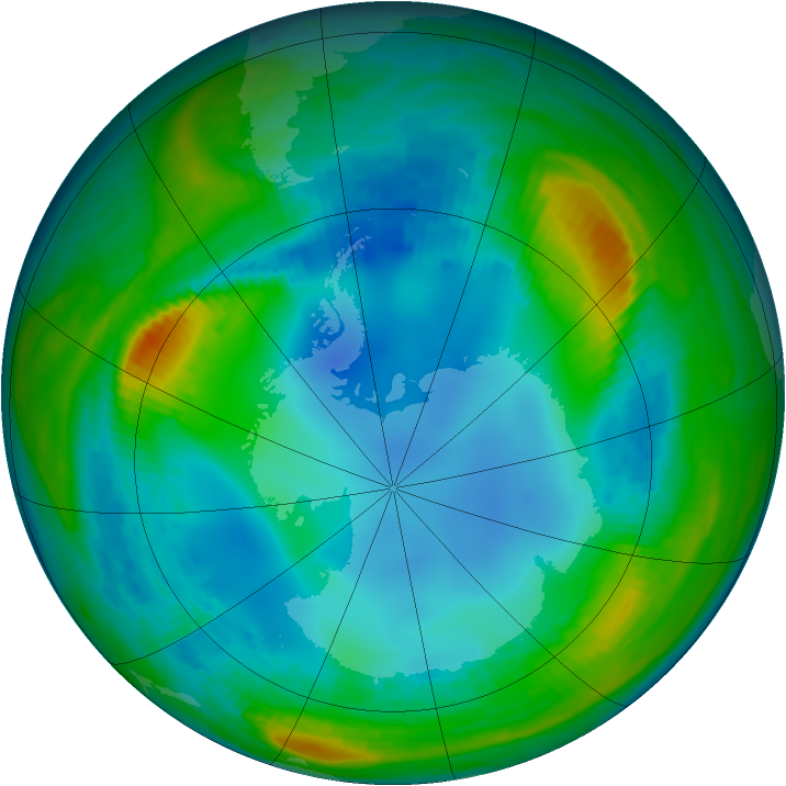 Antarctic ozone map for 29 July 1985