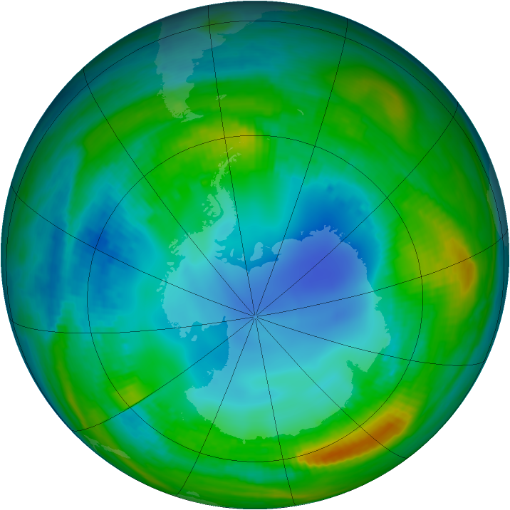 Antarctic ozone map for 03 August 1985